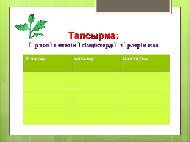 Тапсырма: Әр топқа енетін өсімдіктердің түрлерін жаз АғаштарБұталарШөптекте...