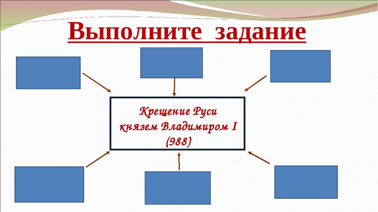 Выполните задание Крещение Руси князем Владимиром I (988)