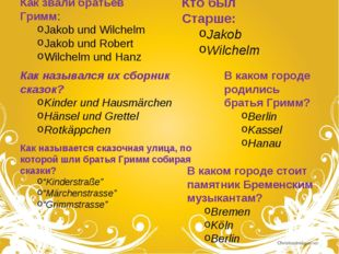 Как звали братьев Гримм: Jakob und Wilchelm Jakob und Robert Wilchelm und Han