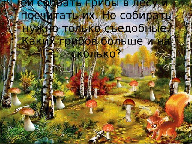 Белочка нас просит помочь ей собрать грибы в лесу и посчитать их. Но собират...