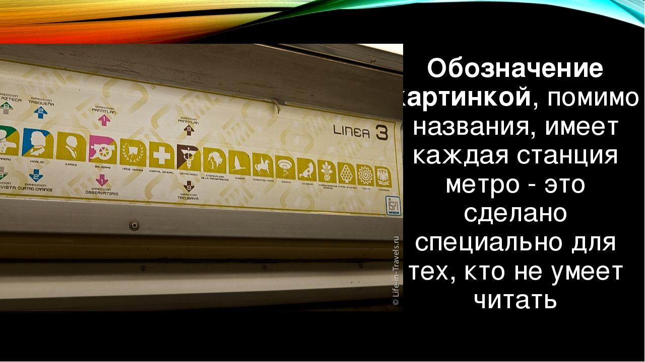 Обозначение картинкой, помимо названия, имеет каждая станция метро - это сдел...