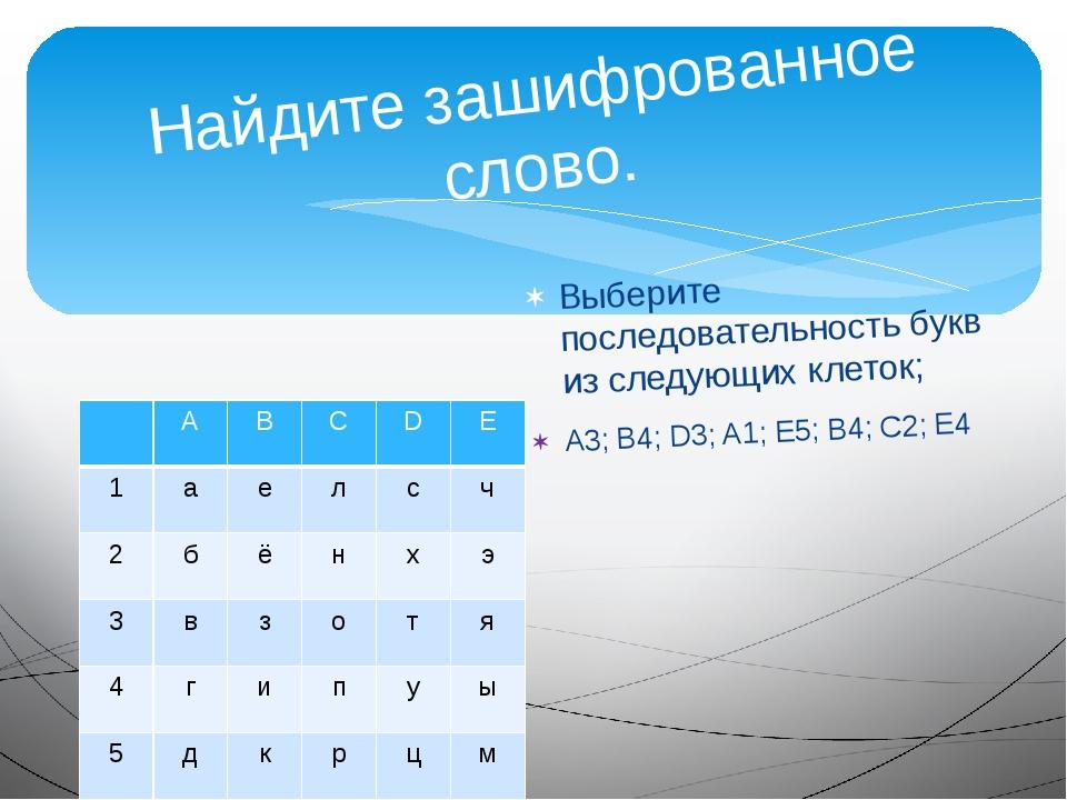 Найдите зашифрованное слово. Выберите последовательность букв из следующих кл...