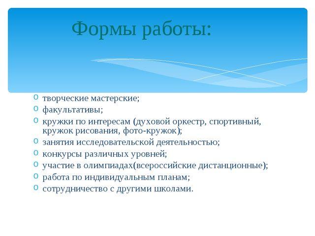 творческие мастерские; факультативы; кружки по интересам (духовой оркестр, сп...