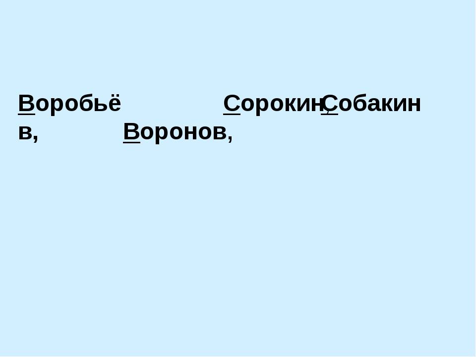 Воробьёв, Воронов, Сорокин, Собакин