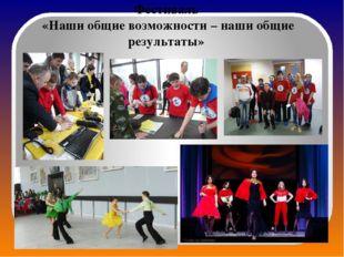 Фестиваль «Наши общие возможности – наши общие результаты»
