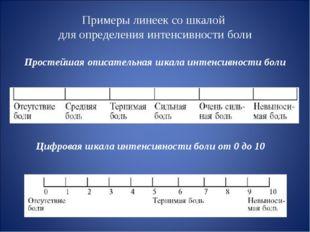 Примеры линеек со шкалой для определения интенсивности боли Простейшая описат