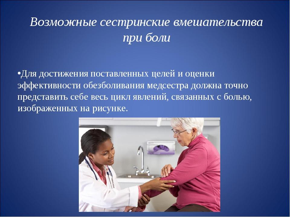 Возможные сестринские вмешательства при боли Для достижения поставленных целе...