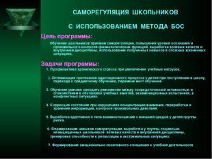 САМОРЕГУЛЯЦИЯ ШКОЛЬНИКОВ С ИСПОЛЬЗОВАНИЕМ МЕТОДА БОС Цель программы: Обучение