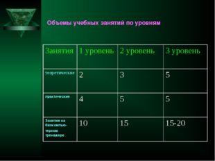 Объемы учебных занятий по уровням  Занятия1 уровень2 уровень3 уровень тео