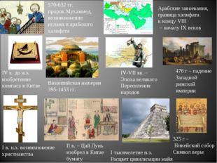 I в. н.э. возникновение христианства II в. – Цай Лунь изобрел в Китае бумагу