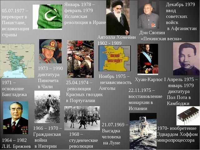 1964 – 1982 Л.И. Брежнев 1968 – студенческие революции 21.07.1969 – Высадка ч...