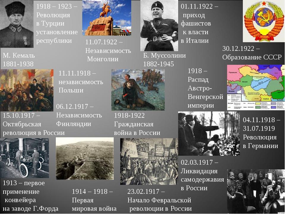 1913 – первое применение конвейера на заводе Г.Форда 1914 – 1918 – Первая мир...