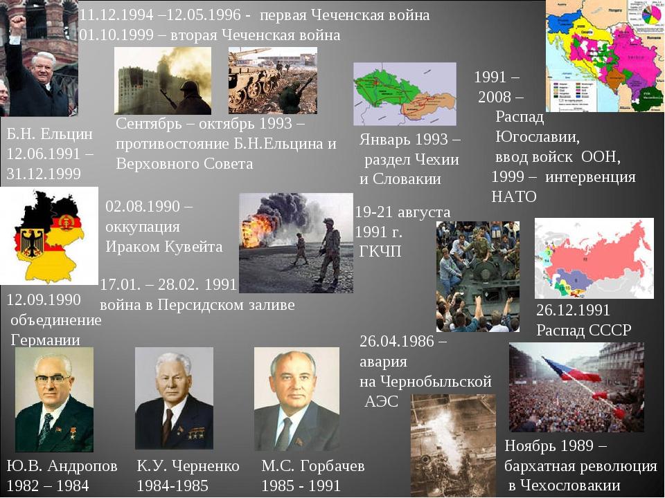 Ю.В. Андропов 1982 – 1984 26.04.1986 – авария на Чернобыльской АЭС К.У. Черне...