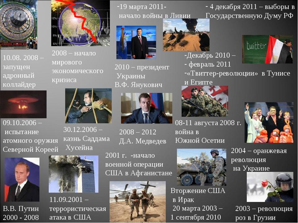 2004 – оранжевая революция на Украине 30.12.2006 – казнь Саддама Хусейна 09.1...