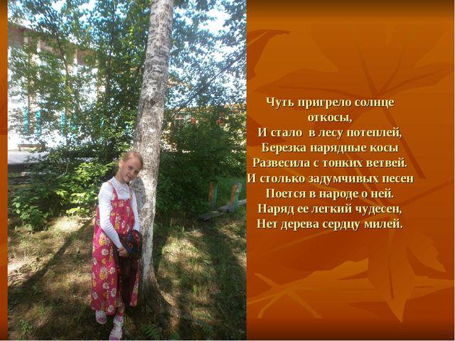 Чуть пригрело солнце откосы, И стало в лесу потеплей, Березка нарядные косы Р...