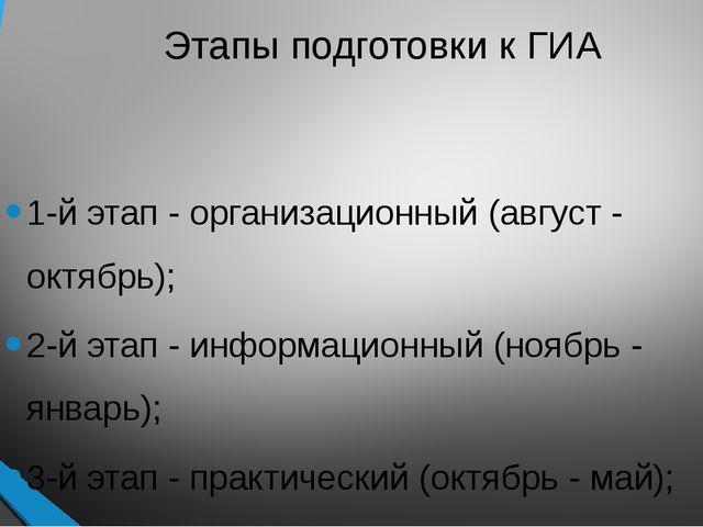 Этапы подготовки к ГИА 1-й этап - организационный (август - октябрь); 2-й эта...