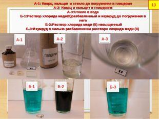 А-1: Кварц, кальцит и стекло до погружения в глицерин А-2: Кварц и кальцит в