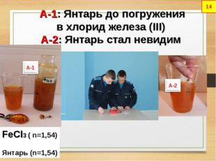 А-1: Янтарь до погружения в хлорид железа (III) А-2: Янтарь стал невидим FeC