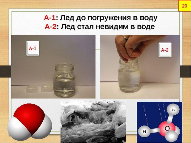 А-1: Лед до погружения в воду А-2: Лед стал невидим в воде 20