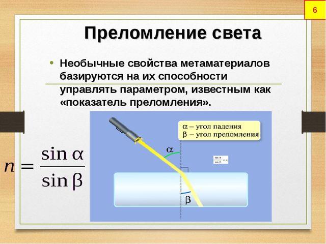 Преломление света Необычные свойства метаматериалов базируются на их способно...