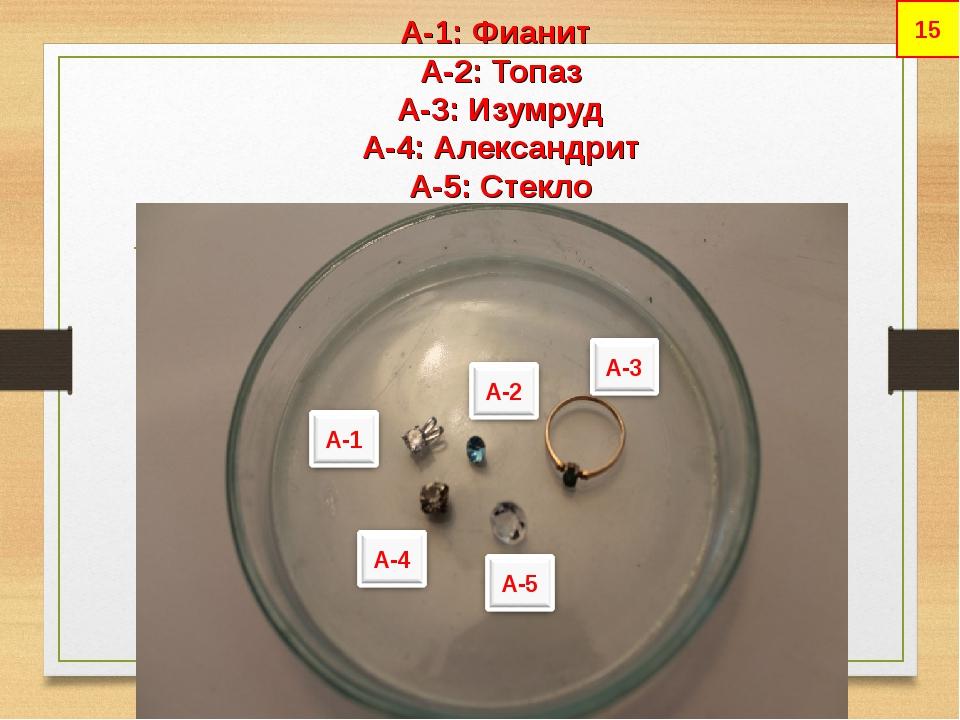 А-1: Фианит А-2: Топаз А-3: Изумруд А-4: Александрит А-5: Стекло 15