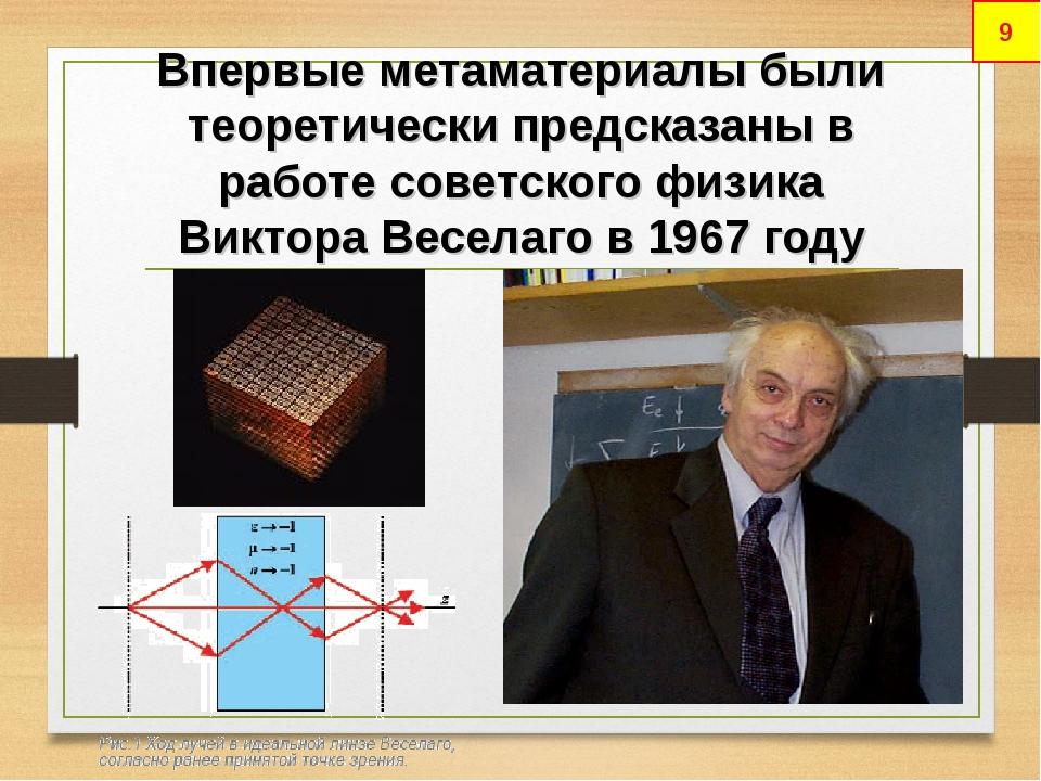 Впервые метаматериалы были теоретически предсказаны в работе советского физик...