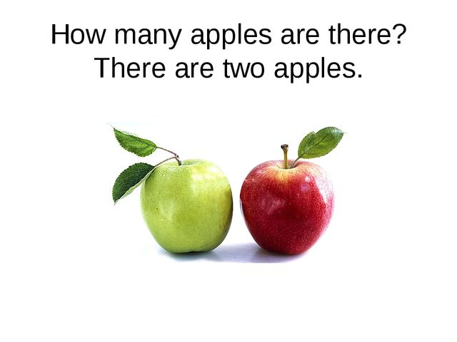 How many apples are there? There are two apples.
