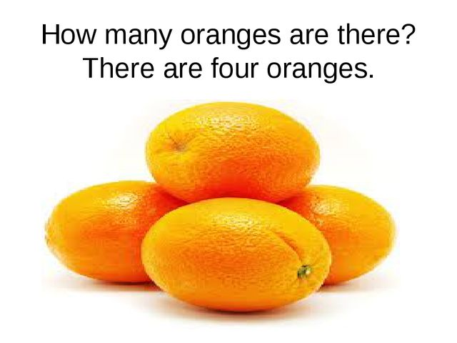 How many oranges are there? There are four oranges.