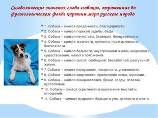 Символические значения слова «собака», отраженные во фразеологическом фонде к