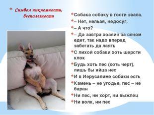 Символ никчемности, бесполезности Собака собаку в гости звала. – Нет, нельзя,