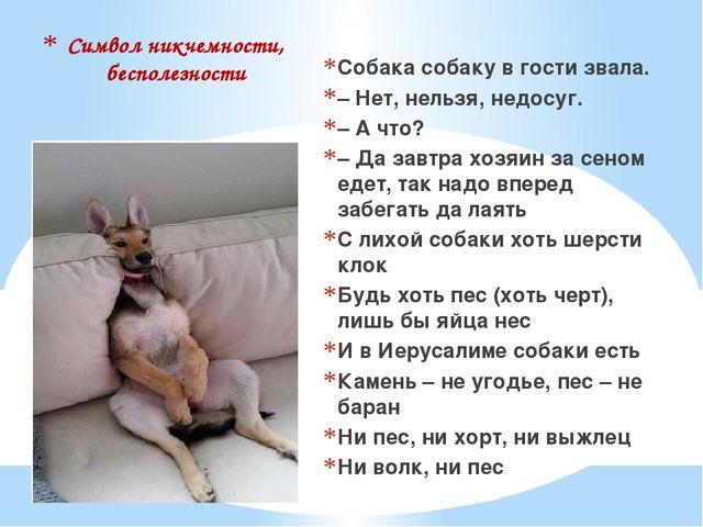 Символ никчемности, бесполезности Собака собаку в гости звала. – Нет, нельзя,...