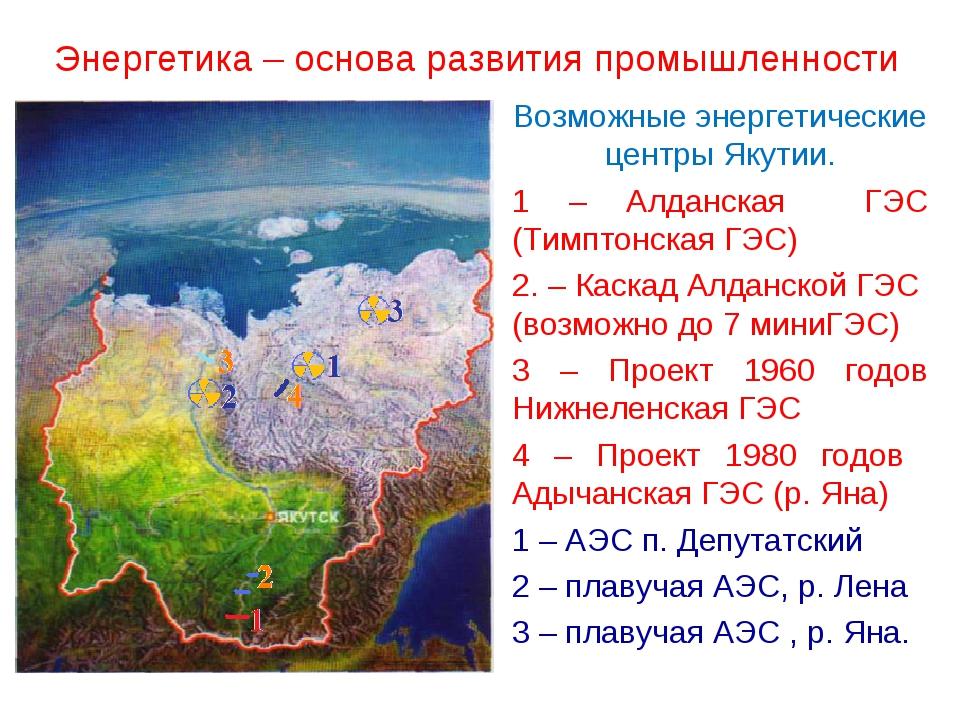 Энергетика – основа развития промышленности Возможные энергетические центры Я...