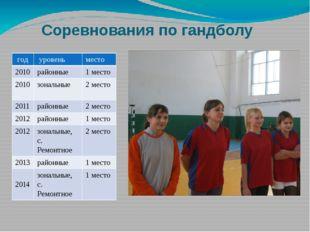 Соревнования по гандболу год уровень место 2010 районные 1 место 2010 зональ