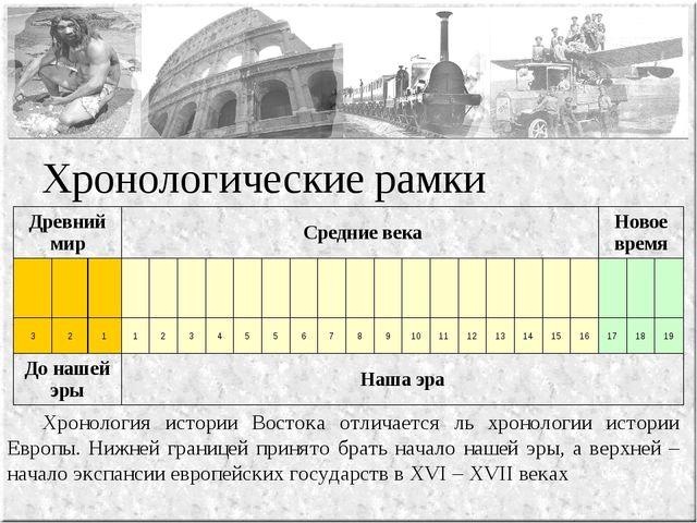 Хронологические рамки Хронология истории Востока отличается ль хронологии ис...