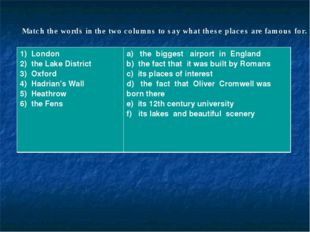 Match the words in the two columns to say what these places are famous for. 1