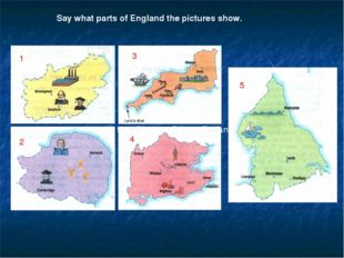 """1 Say what parts of England the pictures show. 1 2 3 4 5 the text """"Discover B"""