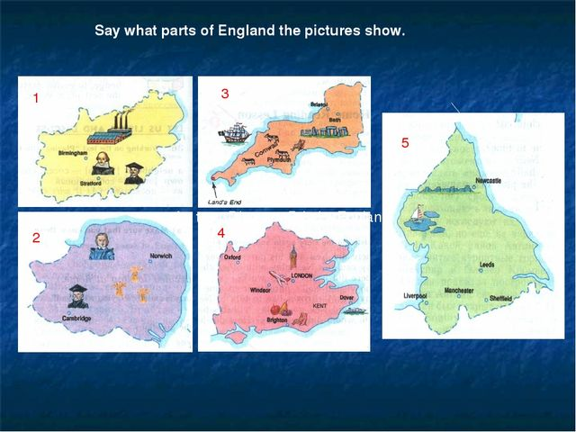 """1 Say what parts of England the pictures show. 1 2 3 4 5 the text """"Discover B..."""