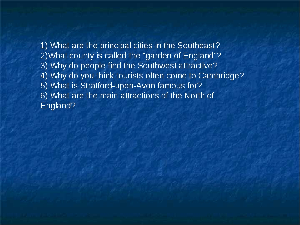 1) What are the principal cities in the Southeast? 2)What county is called t...