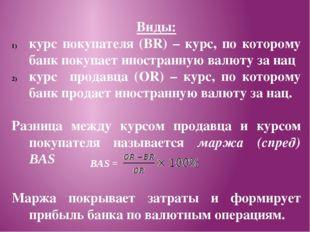 Виды: курс покупателя (BR) – курс, по которому банк покупает иностранную валю