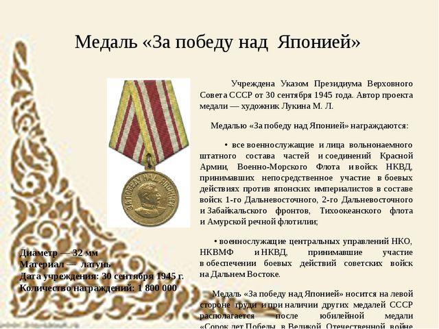 Диаметр — 32мм Материал — латунь Дата учреждения: 30сентября 1945 г. Коли...