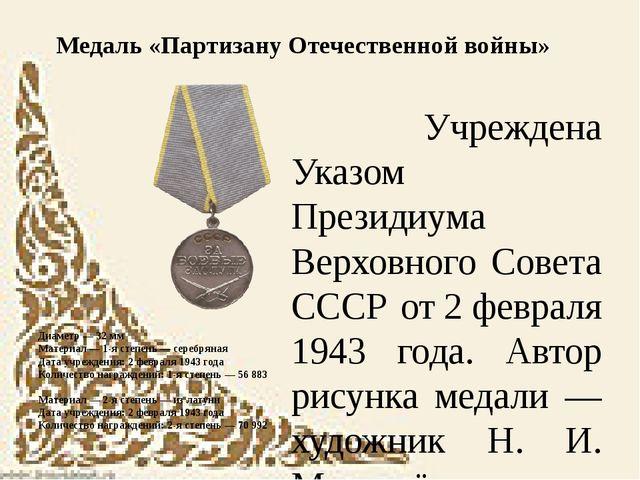 Диаметр — 32мм Материал — 1-я степень — серебряная Дата учреждения: 2февра...