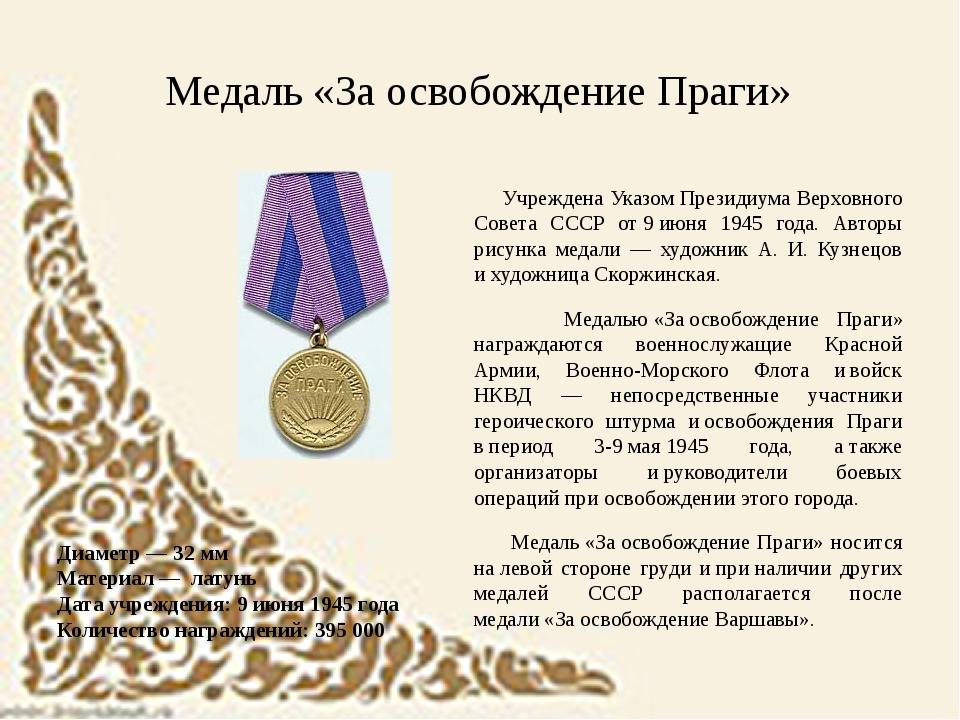 Диаметр — 32мм Материал — латунь Дата учреждения: 9июня 1945 года Количес...