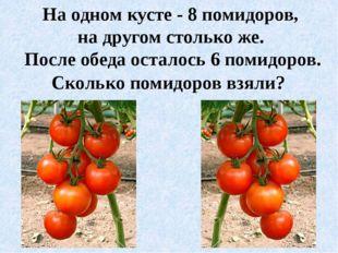 На одном кусте - 8 помидоров, на другом столько же. После обеда осталось 6 по