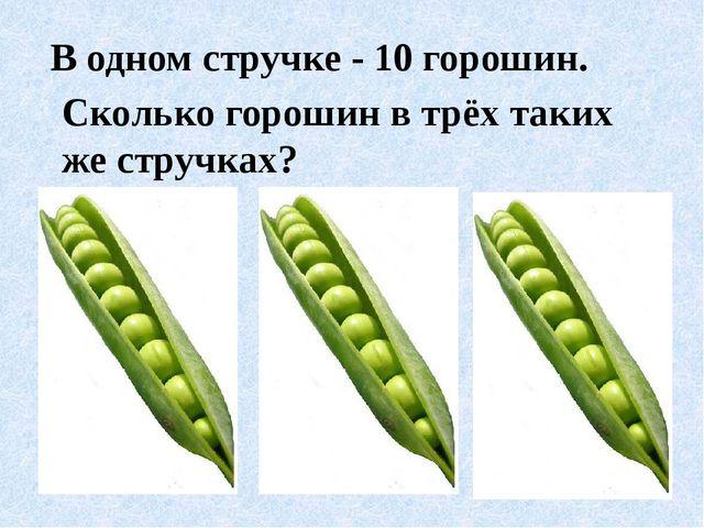 В одном стручке - 10 горошин. Сколько горошин в трёх таких же стручках?