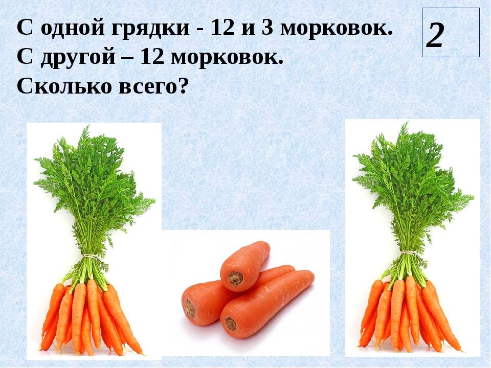 С одной грядки - 12 и 3 морковок. С другой – 12 морковок. Сколько всего? 2