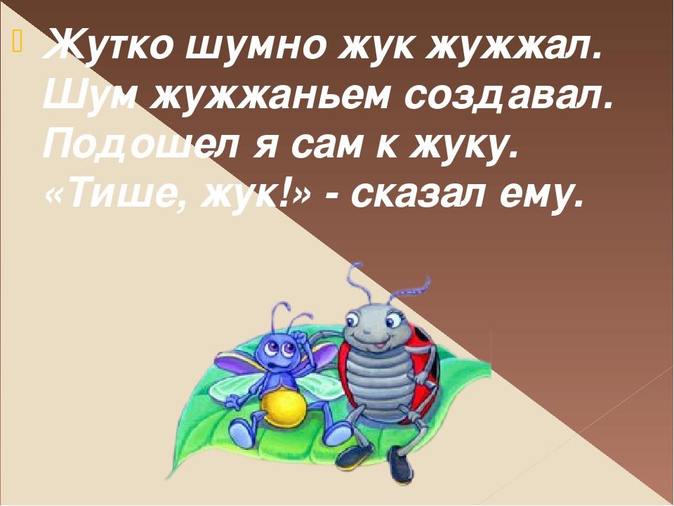 Жутко шумно жук жужжал. Шум жужжаньем создавал. Подошел я сам к жуку. «Тише,...