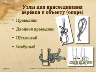 Узлы для присоединения верёвки к объекту (опоре) Проводник Двойной проводник