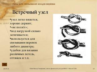 Встречный узел узел легко вяжется, хорошо держит; «не ползёт»; под нагрузкой
