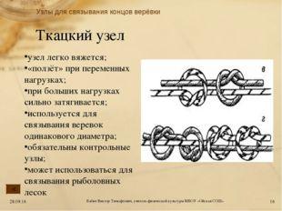 Ткацкий узел узел легко вяжется; «ползёт» при переменных нагрузках; при больш