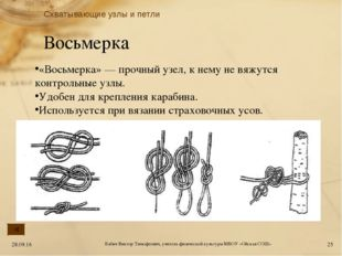 Восьмерка «Восьмерка» — прочный узел, к нему не вяжутся контрольные узлы. Удо